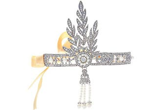 (silver) - Coucoland 1920s Flapper Headband Roaring 20s Great Gatsby Inspired Headpiece Vintage 1920s Flapper Gatsby Accessories Leaf Style with Pearl Silver-Tone