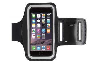 (Black) - For Apple iPhone 8 7 6S & 6 (12cm ) Running, Jogging, Gym, Workout Armband + Key Holder in Black