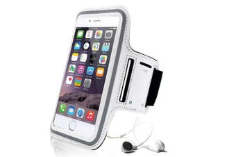 (White) - For Apple iPhone 8 7 6S & 6 (12cm ) Running, Jogging, Gym, Workout Armband + Key Holder in White