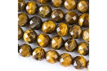 (Yellow Tiger Eye) - Cherry Blossom Beads Large Hole 2.5mm Drilled 10mm Yellow Tiger Eye Beads Faceted Round - 8 Inch Strand