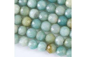 (Amazonite) - Large Hole 2.5mm Drilled Amazonite Beads 8mm Faceted Round - 8 Inch Strand