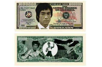 American Art Classics Bruce Lee Million Dollar Bill Collectible in Currency Holder - Best Gift Or Party Favour for Fans of This Martial Arts Legend