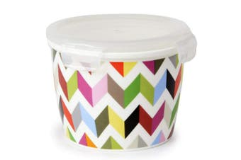 (Big Round, Ziggy) - French Bull Ziggy Porcelain Food Storage Container & Air Tight Lid, 950ml, Multicolor