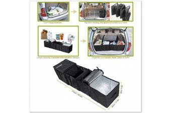 Autoark AK-U18 Black Foldable Multi Compartment Fabric Car Truck Van SUV Storage Basket Trunk Organiser and Cooler Set