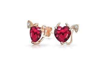 Valentine Gifts Rose Gold Plating Sterling Silver CZ Pink Simulated Ruby Devils Heart Stud Earrings
