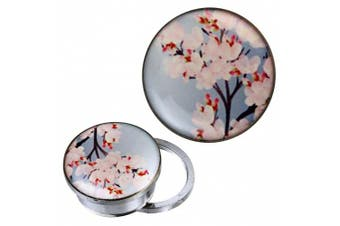 (14 mm) - Screw Plug Tunnel silvery stainless steel Cherry blossom branch bright blue acrylic piercing