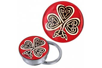 (12 mm) - Screw Plug Tunnel silvery stainless steel Celtic knot shamrock red acrylic piercing