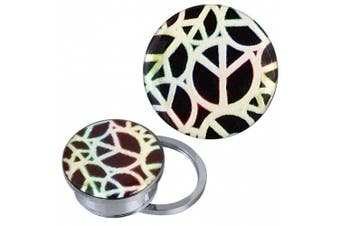 (12 mm) - Screw Plug Tunnel silver stainless steel white colourful Peace signs Acrylic Piercing