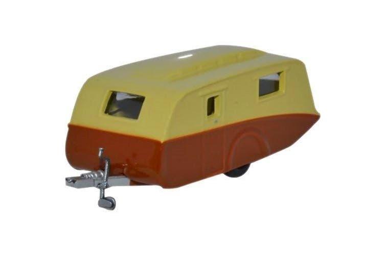Oxford Diecast 76CV003 Caravan Travel Trailer Cream Brown 1:76 Scale