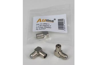 1 x 90 Degree F Socket Female to Coax Plug Male by Auline® Convert Existing Cable to Right Angle / Angled Connector