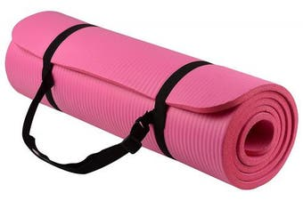 (pink) - BalanceFrom GoYoga All-Purpose 1.3cm Extra Thick High Density Anti-Tear Exercise Yoga Mat with Carrying Strap