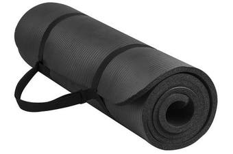 (black) - BalanceFrom GoYoga All-Purpose 1.3cm Extra Thick High Density Anti-Tear Exercise Yoga Mat with Carrying Strap