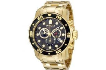 (Gold Bracelet/Black Dial) - Invicta Men's Quartz Watch with Chronograph Display and Silver Stainless Steel Bracelet