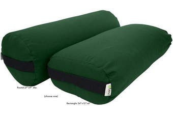 (Rectangle, FOREST GREEN) - Best Yoga Bolsters - Rectangle, Round or Pranayama Support Cushions - Meditation Zafu Massage Prop - Organic Cotton, Cotton, Hemp or Yoga Studio Vinyl – 3 Shapes – Made in USA, Bean Products