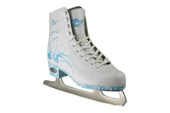 (8) - American Athletic Shoe Women's Sumilon Lined Figure Skates with Turquoise Outsole, White, 8