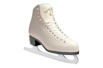 (5) - American Athletic Shoe Women's Leather Lined Ice Skates, White, 5