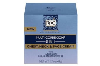 (50ml, Chest, Neck & Face) - RoC Multi Correxion 5 in 1 Anti-Ageing Chest, Neck and Face Cream with SPF 30, Moisturising Cream Made with Vitamin E, 50ml