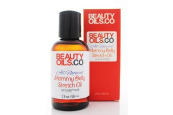 BEAUTYOILS.CO All Natural Mommy Belly Stretch Oil Unscented (60ml) - Helps Protect from Stretch Marks During Pregnancy