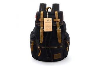 BLUBOON(TM) Vintage Men Casual Canvas Leather Backpack Rucksack Bookbag Satchel Hiking Bag (black)