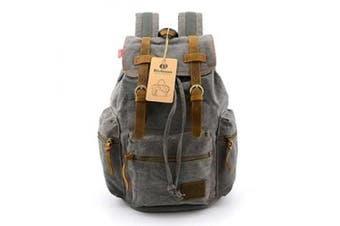 BLUBOON(TM) Vintage Men Casual Canvas Leather Backpack Rucksack Bookbag Satchel Hiking Bag (Grey)