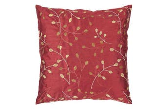 (Venetian Red) - Surya HH-093 Hand Crafted 100% Polyester Venetian Red 46cm x 46cm Floral Decorative Pillow