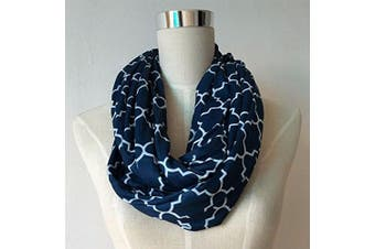(navy blue/white quatrefoil) - Nursing Cover Infinity Scarf For Breastfeeding Hides Baby | Breast Pump Privacy
