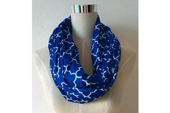 (royal blue/white quatrefoil) - Nursing Cover Infinity Scarf For Breastfeeding Hides Baby | Breast Pump Privacy