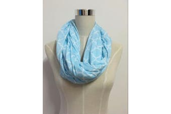(mint blue/white chevron) - Two-Sided Infinity Nursing Scarf & Cover for Breastfeeding Babies & Mothers. Softest, Most Stylish Way to Nurse Your Baby in Total Privacy. Premium Quality Nursing Cover Fits Plus-Sized Moms,Too