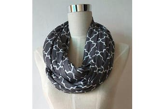 (grey quatrefoil) - Infinity Nursing Scarf For Breastfeeding Covers Baby Also Breast Pump Cover Up