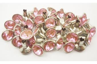 40Set 8mm Pink Synthetic Crystal Rhinestone RIVETS RV6078