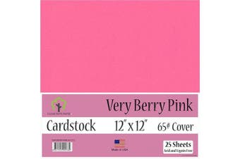 (30cm  x 30cm  - 25 Sheets) - Very Berry Pink Cardstock - 30cm x 30cm - 29kg Cover - 25 Sheets