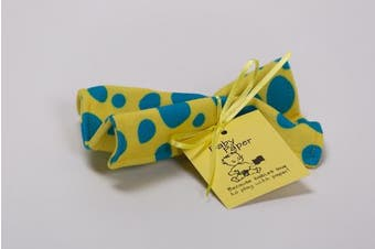 (Yellow with Blue Dots) - Baby Paper - Crinkly Baby Toy - Yellow w/ Blue Dots
