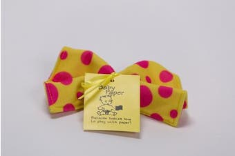 (Yellow with Pink Dots) - Baby Paper - Crinkly Baby Toy - Yellow w/ Pink Dots