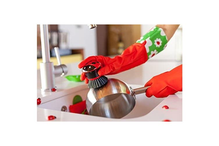 (Red with Extended Ladybug Motif Cuff) - Vigar Red Latex Gloves with Extended Ladybug Motif Cuff, 43cm Long
