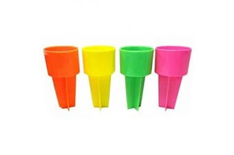 Set of Four Spiker Beach Beverage Sand Cup Holders - NEW Neon Colours