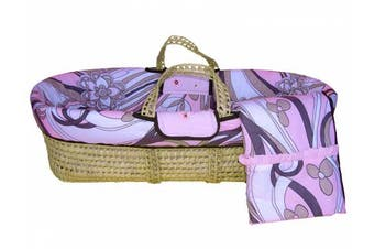 Bacati Retro Flowers Moses Basket, Pink/Chocolate