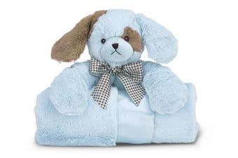 (Blue Waggles Puppy) - Bearington Baby Waggles Cuddle Me Sleeper, Blue Puppy Dog Large Size Security Blanket, 70cm x 70cm