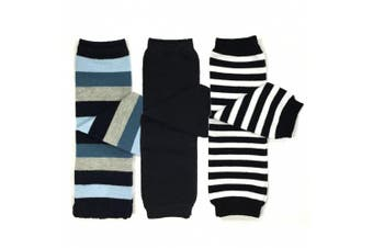 (Blue and Black Stripes) - Bowbear 3 Pair Baby and Toddler Leg Warmers