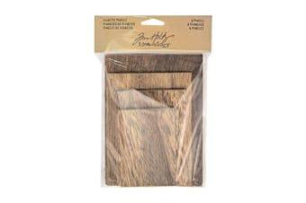 Tim Holtz Idea-Ology Vignette Panel 4 Per Pack, 4-Sizes From 5.7cm x 8.3cm To 10cm x 14cm , Natural With Brown Matte Wood (TH93295)