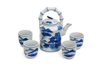 (Blue & White Landscape) - Landscape Blue & White Tea Set
