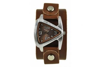 Nemesis Womens Brown Small Triangle Watch with Brown Leather Cuff Band