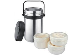 Isosteel VA-9683 1.5 litre 1510ml 18/8 Stainless Steel Double-Wall Vacuum Food Container incl. 3 plastic containers