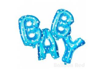 (41cm , Blue Stars, BABY) - 41cm Air-Fill Foil Mylar Balloons (Premium Quality), Blue Stars, Letters BABY