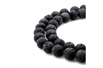 (8mm, Lava) - BRCbeads Gorgeous Natural Black Lava Stone Gemstone Round Loose Beads 8mm Approxi 15.5 inch 45pcs 1 Strand per Bag for Jewellery Making
