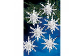 """(Snow Clusters 3.5"""" Makes 12) - Holiday Beaded Ornament Kit-Snow Cluster"""