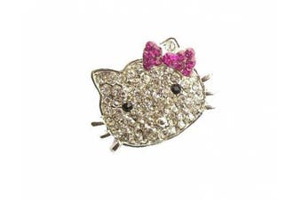Silver Pink Crystal Diamante Bow Kitty Kitten Cat Fashion Brooch Pin Jewellery