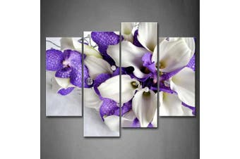 (12x26inchx2Panel,12x35inchx2Panel) - Wall art painting Bunch Of Flowers In White And Dark Purple Wall Art Painting Pictures Print On Canvas Flower The Picture For Home Modern Decoration