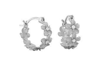 (1. Sterling Silver) - Sterling Silver 7mm Plumeria Hoop Earrings