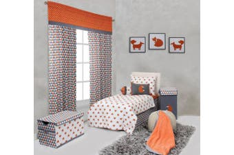 Bacati Playful Foxs 3 Piece Toddler Sheet Set, Orange/Grey
