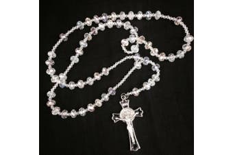 Large white/clear Crystal Beads Rosary Necklace Chain 20 Inches for Wedding /Baptism/ Religious Favour 8mm X 12mm Beads /
